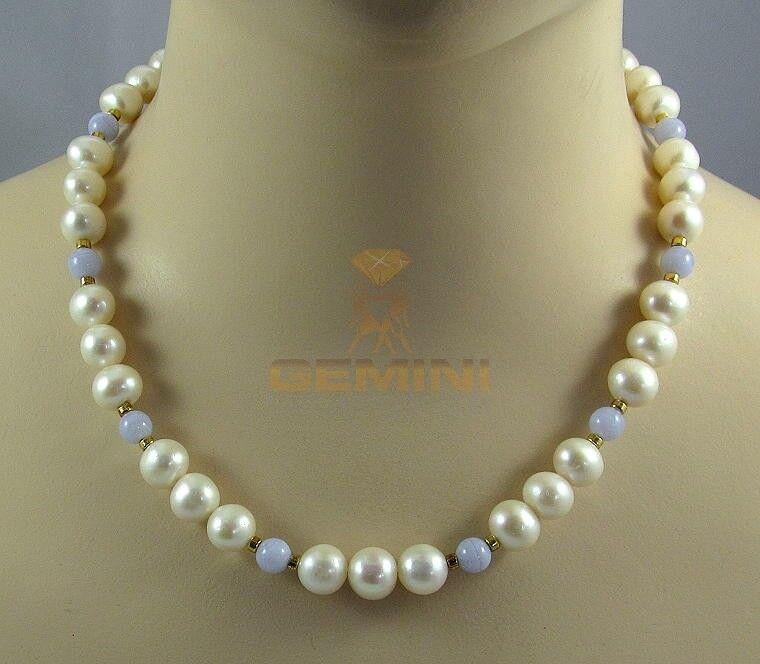 Süßwasser Perlenkette mit Chalcedon Halskette in Gemini Gemstones