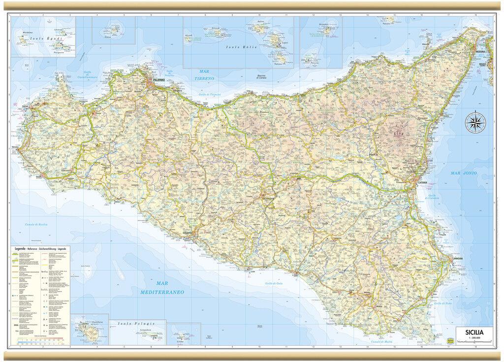 Sicilia Occidentale Cartina Stradale.Sicilia Carta Regionale Murale 97x70 Cm Mappa Poster Cartina Belletti Ebay