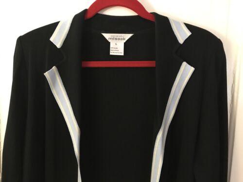 Open Lange blouse L Exclusief dames top echt gebreide zwart Misook Carrière front 5nW8wpq4