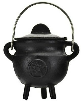 Ritual Pentagram Cast Iron Cauldron ICBR82 Wiccan Pagan Witchcraft Altar Supply