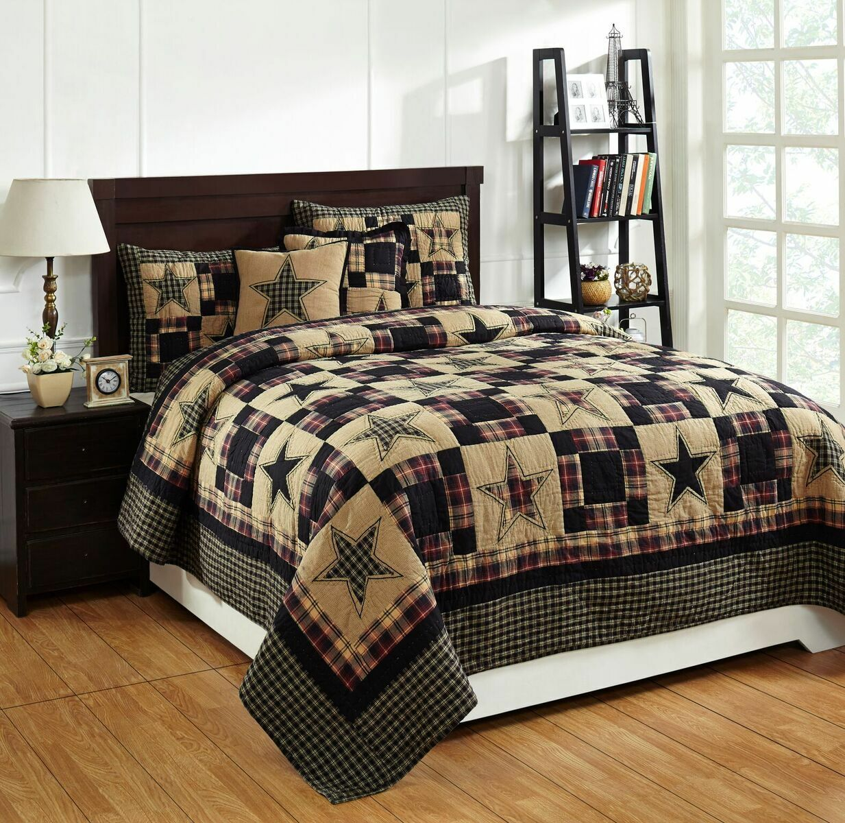 4 Piece QUEEN  REVERE  Quilted Bedding SET  Country, Primitive