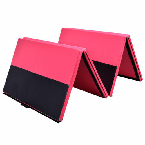 4/'x6/'x2/'/' PU Leather Gymnastics Tumbling Arts Folding Mat Fitness Pink/&Black