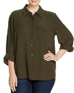 Michael-Kors-Women-039-s-2x-Plus-Swiss-Dot-Button-Down-Shirt-Top-Green-84-NwT