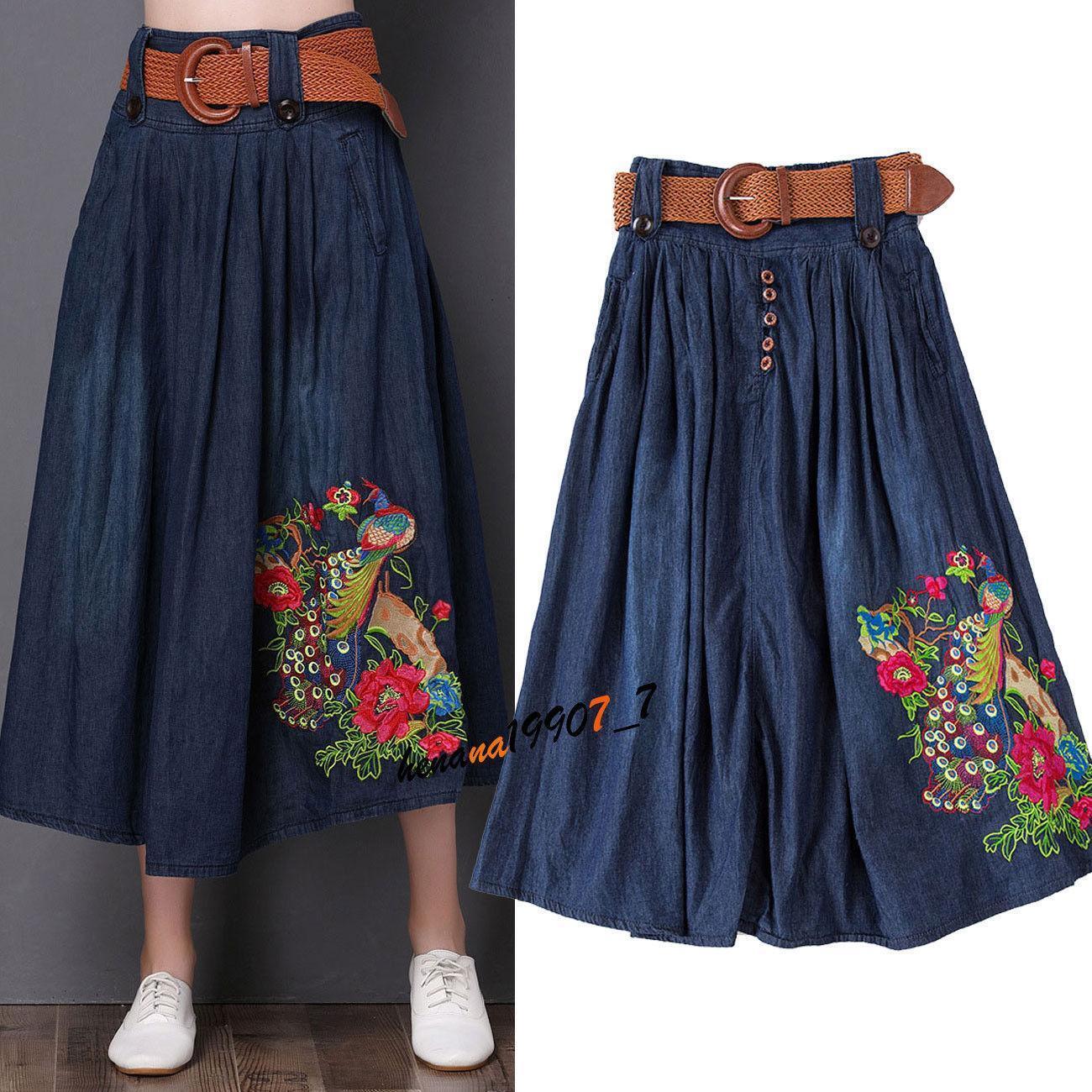 Women Retro Long Skirt Cowboy Pleated Skirt Oversize Casual Plus Size Jeans R606