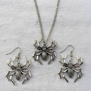 New 1 set of retro silver spider pendant necklace earrings fashion la foto se est cargando nuevo 1 juego de plata retro arana colgante aloadofball Image collections