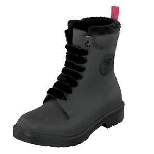 Gosch-Shoes-Sylt-Mujer-Botas-de-Goma-con-Cordones-71051-301B-9-Negro-Resistente