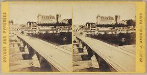 Pont-E-Chateau-Da-Pau-Francia-Foto-Stereo-PL55L1n-Vintage-Albumina-c1865
