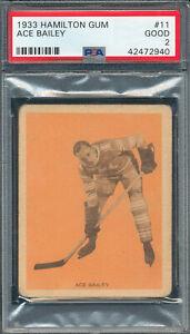 ORANGE-V288-PSA-GOOD-1933-HAMILTON-GUM-11-ACE-BAILEY-GRADED-2-GD-NQ-NHL-HOCKEY