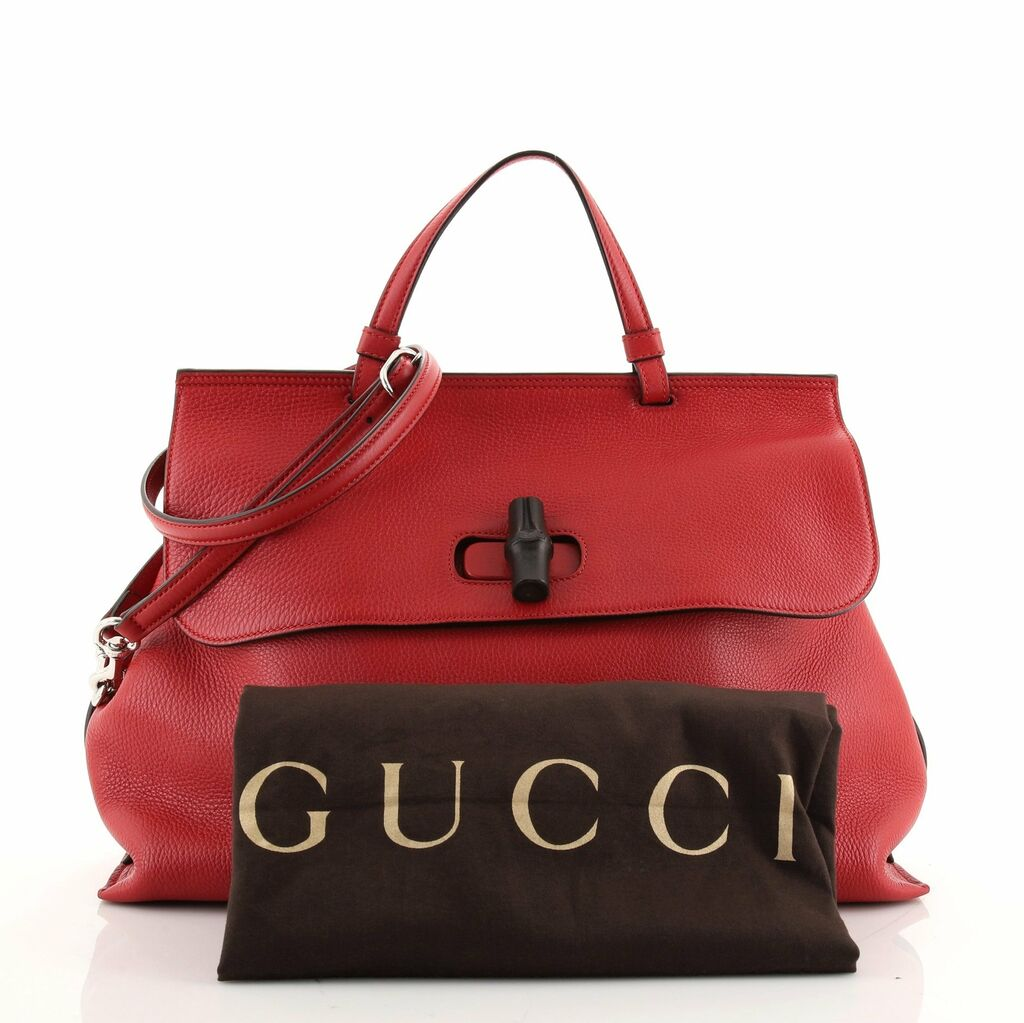 Gucci Bamboo Daily Top Handle Bag Leather Large  | eBay