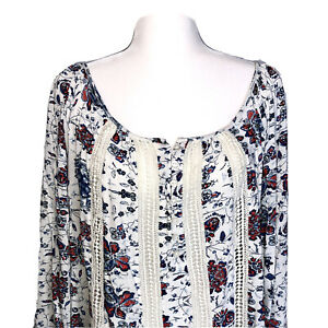 Lucky-Brand-Top-2X-Plus-Size-Tunic-Boho-Tunic-Pullover-Peasant