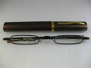 chocolate ultra slim trim reading glasses gold trim
