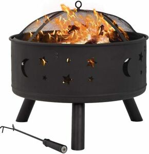 "FDW Outdoor fire Pit Round 24"" FirePit MetalFire Bowl ... on Zeny 24 Inch Outdoor Hex Shaped Patio Fire Pit Home Garden Backyard Firepit Bowl Fireplace id=45392"