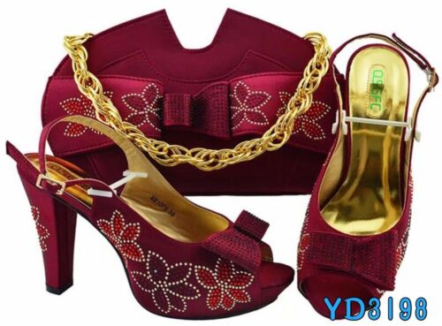 Wine Color Italian Shoes With Matching Bags High Heels Sandals For Wedding party