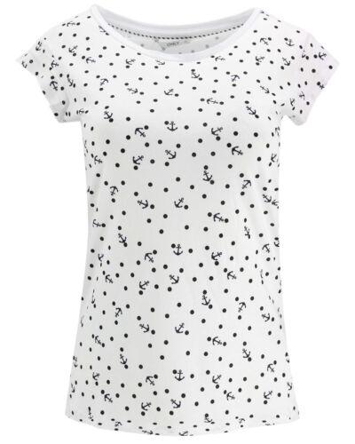 ONLY Damen Top onlBONE LIVA S//S AOP T-SHIRT weiß Streifen Punkte Anker Kirschen