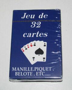 Jeux-de-32-Cartes-Classiques-9-X-6-cm-Bleues-NEUF-Playing-Crads