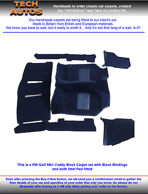 Perfect Fit Navy Blue Carpet Car Mats for VW Up 12-Now Thick Heel Pad