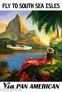 "36"" pan am south china art seas vintage travel print poster  painting"