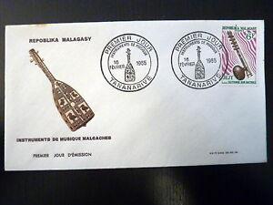 MADAGASCAR-402-PREMIER-JOUR-FDC-INSTRUMENT-MUSIQUE-CITHARE-6F-1965