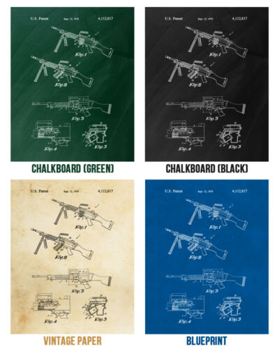 M249 SAW Machine Gun Poster Print Soldier Gift Gun Blueprint Military Decor