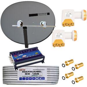 TURKSAT-ASTRA-voreingestellt-Sat-Anlage-MAXIMUM-Kabel-Quattro-LNB-0-1dB-8-TV