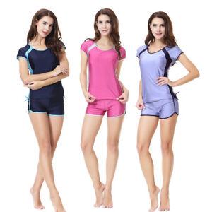 90479d3cad9 Image is loading Muslim-Modest-Swimwear-Tops-Shorts-Burkini-Sets-Women-