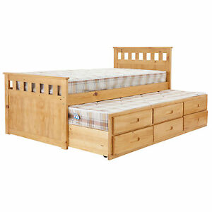3ft single pine sleepover bed with pull out guest bed for Single bed with drawers and mattress