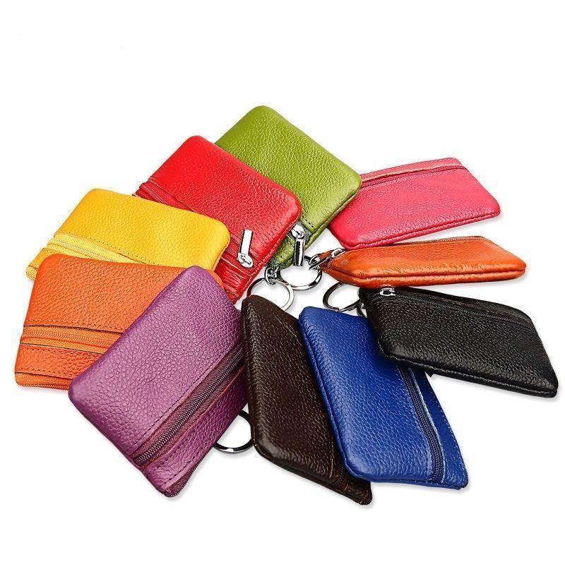 Men women genuine leather card coin key holder zip wallet pouch bag purse *clrCn