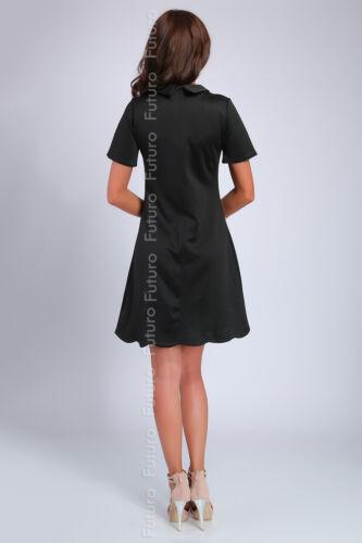 Damen Elegant Kragen Etuikleid mit Krawatte Kurzärmlig Tunika Größe 8-14 FA374