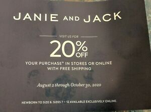 Janie Jack Coupon Code 20 Off Purchase Expires October 30 2020 Sale Ebay