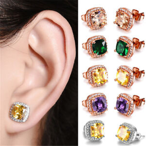 Fashion-18K-Rose-Gold-Princess-Cut-Champagne-Topaz-Stud-Earring-Square-Ear-Stud