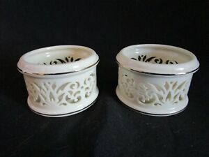 LENOX Ivory Porcelain Illuminations Pierced Pair Votive Candleholders FREE SHIP