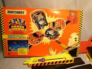 Vintage-1992-Matchbox-Crash-Dummies-Crash-callejon-circuito-Crash-Conjunto-de-Juego-Juego-De-Juguete