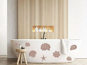 Wandtattoo Muscheln Wandaufkleber Set für Badezimmer Seesterne Blume ...