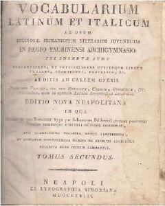 VOCABULARIUM-LATINUM-ET-ITALICUM-TOMUS-SECUNDUS-di-Salvatorem-Baldassari-1818