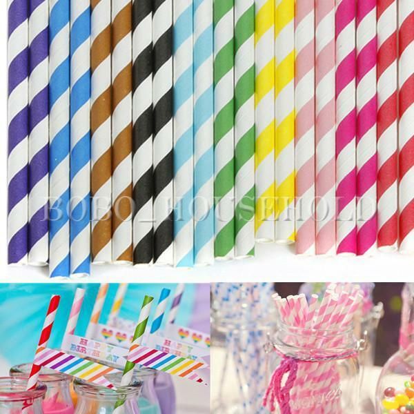 25/50/100X Striped Paper Drinking Straw Rainbow Mixed Color Home Wedding Party