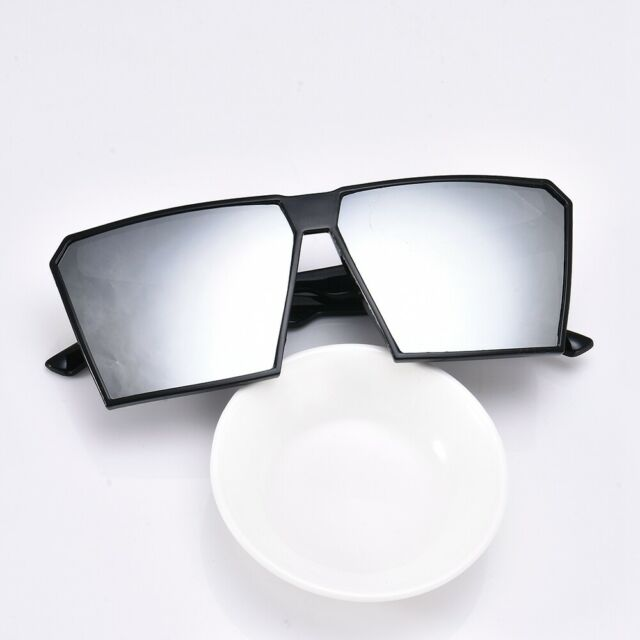 60ea58bb58825 Unisex Square Frame Oversized Colored Lens Vintage Flat Sunglasses For Men  Women