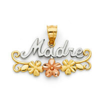 14k Yellow Gold Madre Pendant Flower Two Tone Gift For Mom Mother's Day Gift