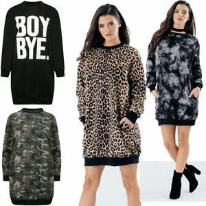 NEUF-oversize-Baggy-Poche-Sweat-shirt-Robe-Tunique-Femme-Femmes-Filles-8-18