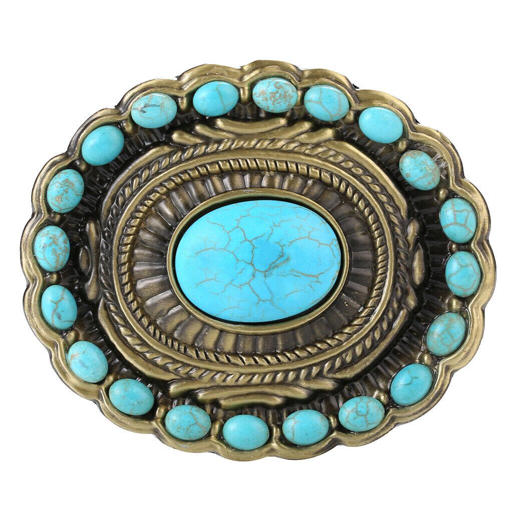 Western Cowboy Gürtelschnalle Indian Style Blau Türkis für Wechselgürtel,