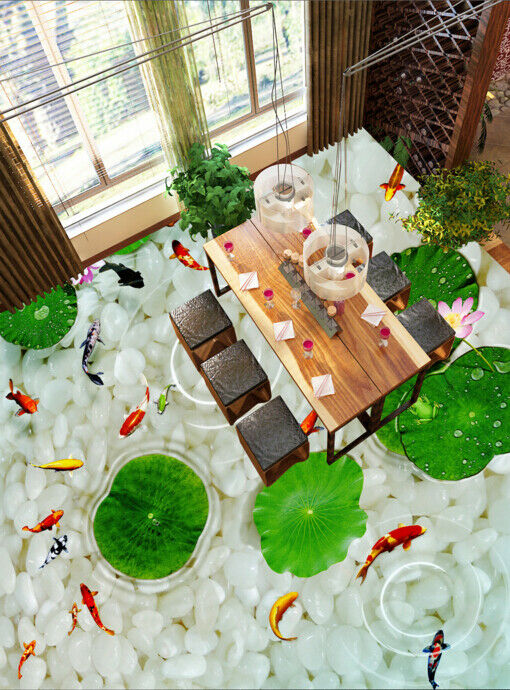 3D Lotus Leaf Pond 5 Floor WallPaper Murals Wall Print Decal AJ WALLPAPER Summer