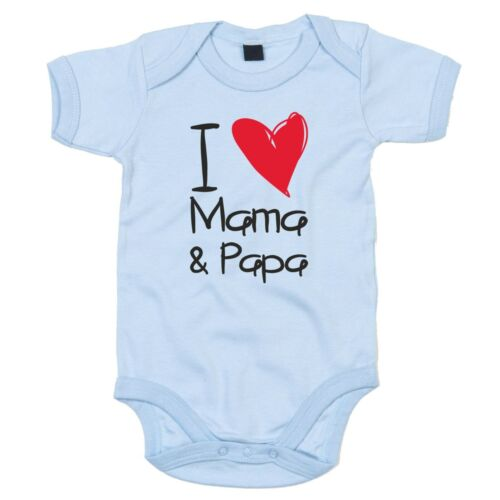 Sohn Tochter Kind Familienzuwachs Bruder Vater I love Mama /& Papa Baby Body