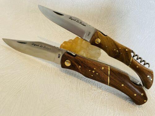 Lot de 2 couteaux de poche Laguiole chasse Rustique avec manche en bois de pali.