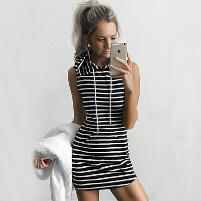 Womens Sleeveless Vest Short Mini Dress Party Evening Hoodies Bodycon Sundress