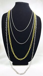 Chain-Necklace-5-Distinct-Size-Chains-In-Silver-And-Yellow-With-Lobster-Clasp