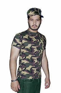 Army Men Womens Camouflage T-Shirt & Hat Set Fancy Dress Armed Forces Costume