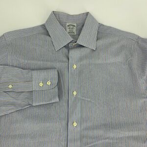 Brooks-Brothers-Mens-Regent-Fit-Non-Iron-Striped-Dress-Shirt-Size-15-5-34-Blue