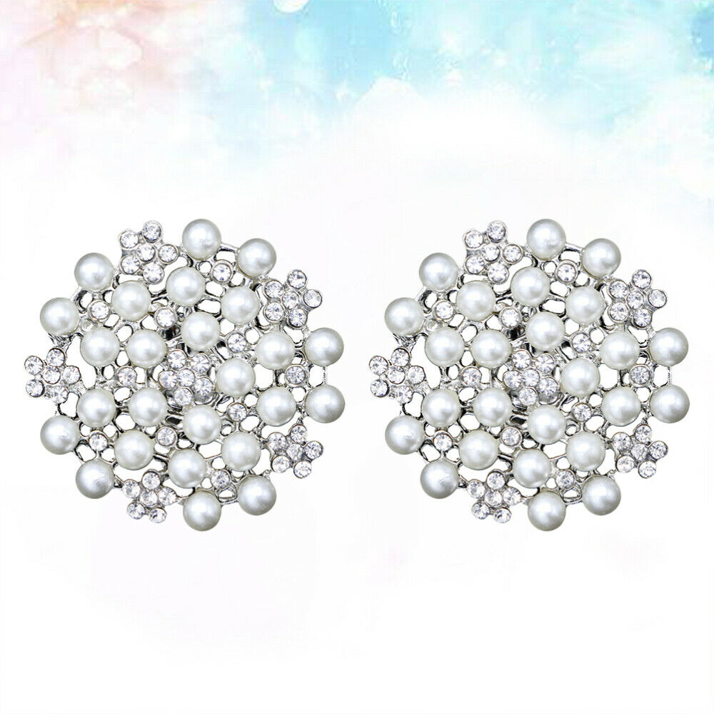 2PCS Rhinestone Shoe Buckles Round Fashion Pearls Shoe Decoration for Party