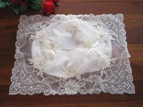 Gorgeous Flower Embroidery Sequin Pearl Bead Bow Sheer Tissue Box Cover B