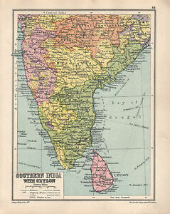 Madras India Map.1934 Map Southern India With Aeylon Madras Bombay Hyderabad