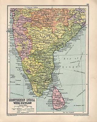 1934 Map ~ Southern India With Aeylon ~ Madras Bombay Hyderabad Bombay Mysore Antiques
